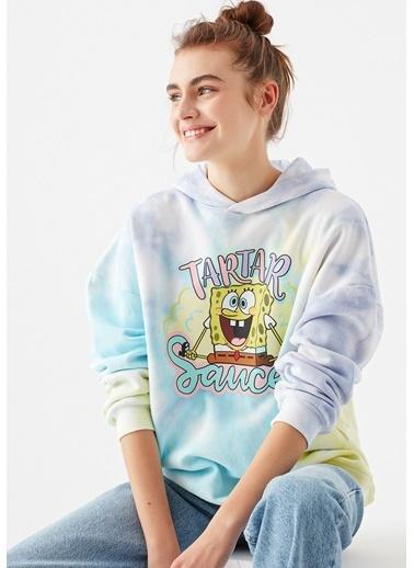 Mavi Sünger Bob Baskılı Batik Sweatshirt Beyaz